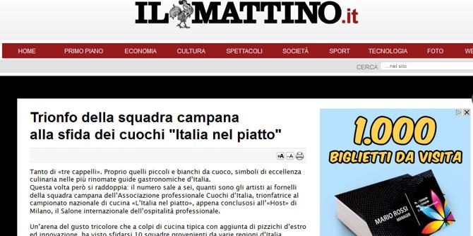 il mattino - trionfo della squadra campana italia nel piatto