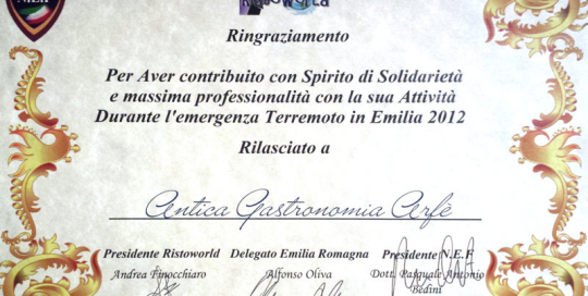Gastronomia Arfè Emergenza Terremoto in Emilia 2012