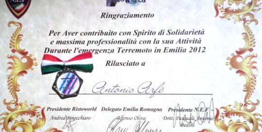 Chef Arfè Emergenza Terremoto in Emilia 2012